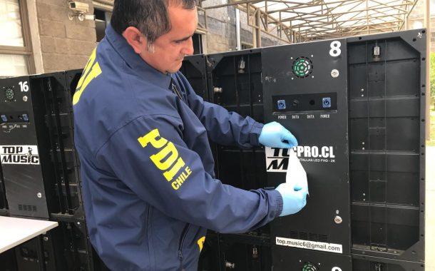PDI recupera 18 pantallas LED avaluadas en $15 millones: Habían sido sustraídas de local en Machalí