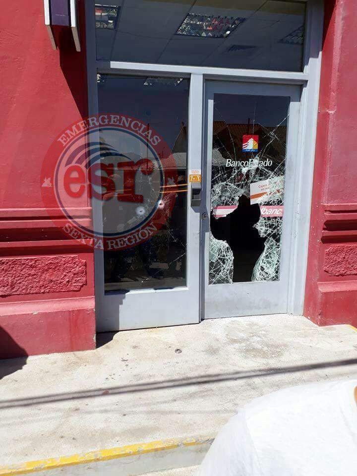 Antisociales armados con fusiles de guerra asaltan sucursal de Banco Estado en Coltauco
