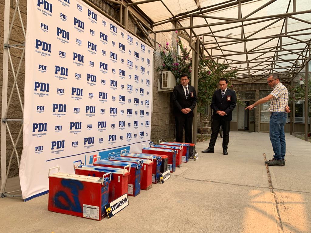 Diez baterias de antenas de celular robadas fueron recuperadas por PDI