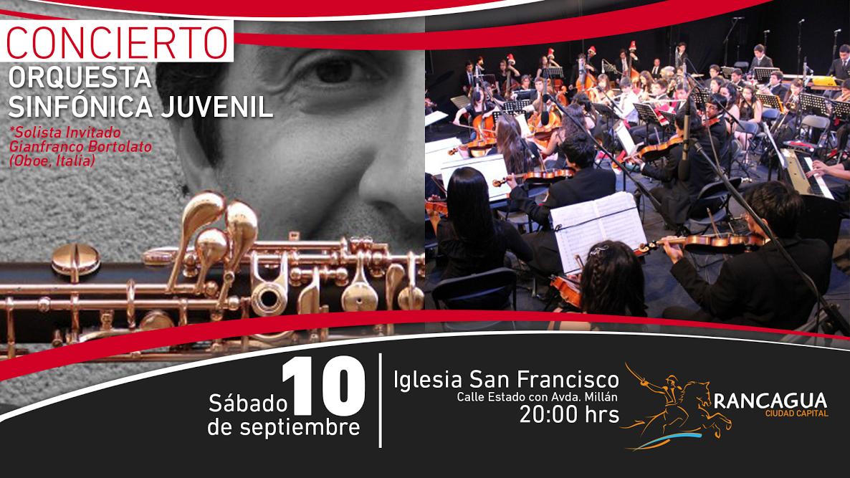 La Orquesta Sinfónica Juvenil de Rancagua y destacado oboísta italiano, juntos en la Iglesia San Francisco