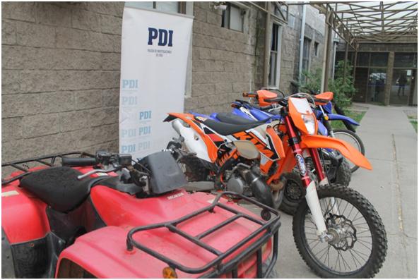 PDI Recupera 5 motos avaluadas en 20 millones de pesos