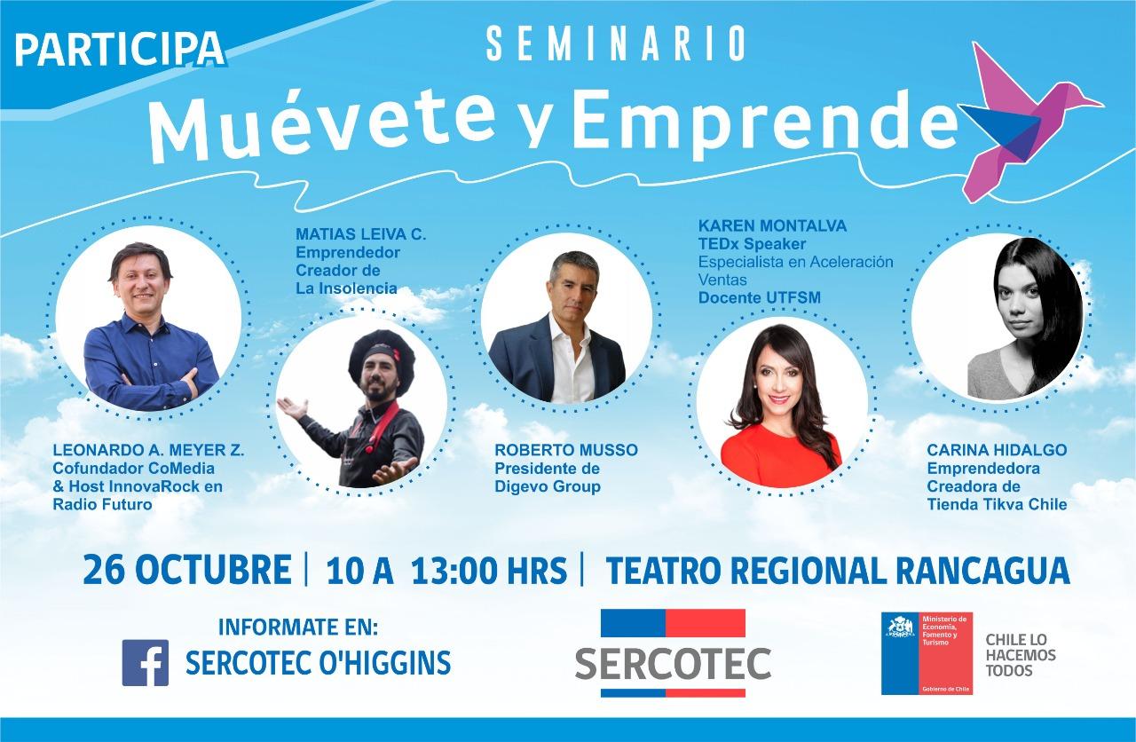"""Sercotec invita a la comunidad a participar en el seminario """"Muévete y Emprende"""""""