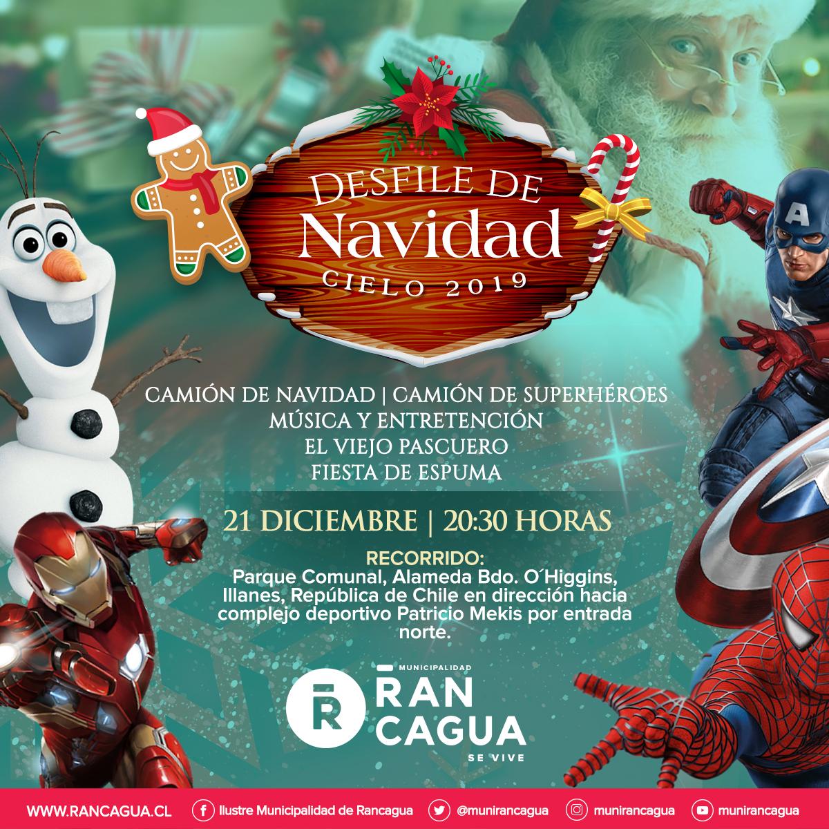 """Espíritu navideño inundará las calles de Rancagua con el """"Desfile de Navidad Cielo 2019"""""""