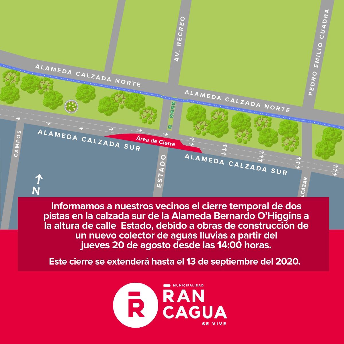 Dos pistas del lado sur de la Alameda Bernardo O'Higgins serán intervenidas
