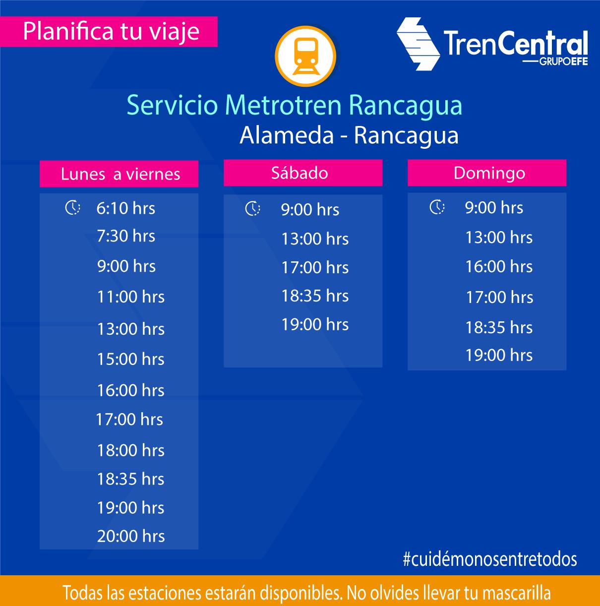 Metrotren Rancagua aumenta su frecuencia a partir de este lunes